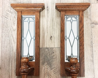 Vintage Stained Glass Candle Sconces / Antique Stained Glass Candle Sconce Pair / Oak Candle Sconce Pair