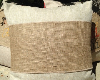 6 Blank Burlap Pillow Wraps, Adjustable Pillow Wraps, Burlap Pillow Wraps, Pillow Bands, Embroidery, HTV, Ready to Ship, Fits 16-20 in.