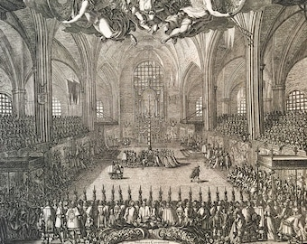 Rare Jean Le Pautre Engraving of Coronation of Swedish Queen Hedvig Eleonora - 1660s - 2nd State - 17th century - France