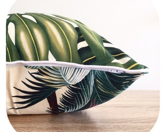 Cushion Tropical Reversible Barkcloth Twill Monstera Leaf / Palm Trees on Natural Kailua Beach Two Different Designs for Two unique looks