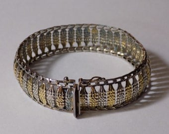 Large sterling silver Milor Italy bracelet gold and silver tone 7 1/2 inches long