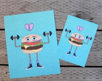 tough guy burger art print