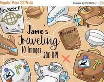 50% OFF Kawaii Travel Clipart - Adventure Download - Kawaii Design Download - Passport - Blimp - Planes - Suitcase