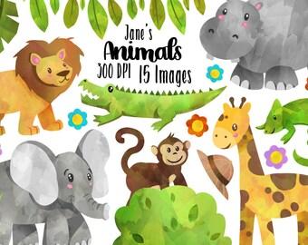 Safari Animals Clipart - Wild Animals Download - Instant Download - Watercolor Cute Elephant Giraffe Chameleon Hippo and more!