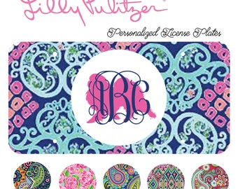 Japanese chin Monogrammed License Plate, Lilly Pulitzer, Car Accessory, Tag Plate, Dog