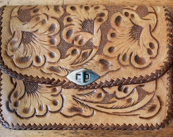 70s Leather Clutch - Hand tooled leather