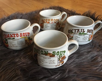 Retro Soup Bowls with Recipes