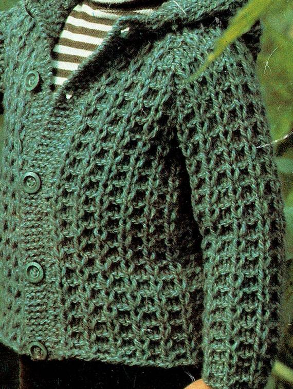 PDF Vintage Knitting Pattern Children CHUNKY Jacket ...