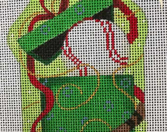 """Handpainted Needlepoint Associated Talents #CT1252 """"Baseball in Present"""" Ornament"""