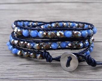 BOHO waps bracelet Beaded Bracelet Blue Facted Crystal Bracelet AB glass crystal Bracelet Boho beaded bracelet Leather Waps Bracelet SL-0498