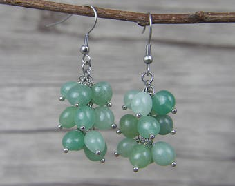 Green Aventurine beads Earrings Green Beads Dangle Earrings Aventurine Earrings Natural Stone Bead Earrings BOHO Bead Drop Earrings ED-037