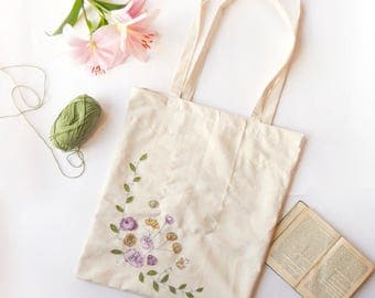 Floral Embroidered Shoulder Tote Bag - purple and yellow