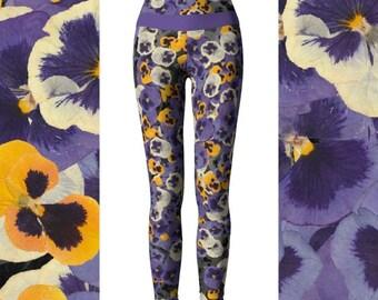 Pressed Flower Yoga Pants / Capris, High Waisted Workout Pants, Pansy Leggings, Printed Leggings, Floral Leggings, Flower Pants