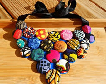 Free Shipping African Print Button Necklace For Women