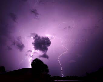 Lightning in the Night Sky Photo Print; Storm Photography, Lightning Photography, Nature Photography, Outdoor Photography || PHYSICAL PRINT