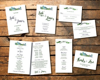 CUSTOM PRINTED | Simplistic Mountain Wedding Suite