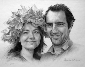 Pencil drawing Couples portrait Exclusive gift for wife Luxury gift for husband Realistic art Gift for couple Wedding anniversary Unique
