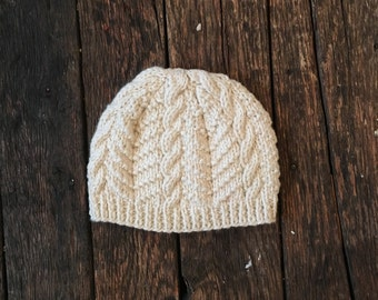 Adult Hand-knit Cable Hat/ Cap, Ethically Sourced Wool, Natural