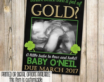 St Patricks Day Pregnancy Announcement Card