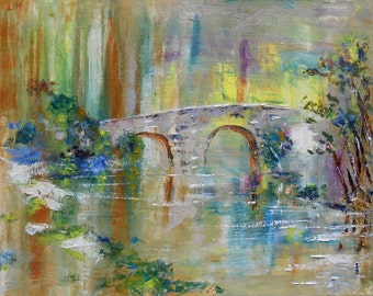 Painting  landscape The little bridge