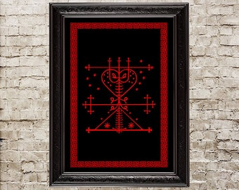 Maman Brigitte veve, Voodoo, Hoodoo, altar, ritual, spirits, Eshu, Loa, Vodun, Vodoun, Brigitte sigil, talisman, amulet, Voodoo print, 182