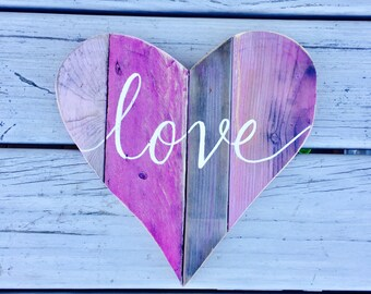 Love heart reclaimed wood wall decor, Valentine's Day gift, 5th anniversary, rustic wedding decor, nursery decor, baby girl