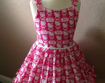 New girls custom made Hello Kitty Heart dress size 5-6
