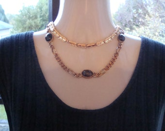 BIJOUX CASCIO vintage necklace with tiger eye and 1 vintage gold plated necklace high quality