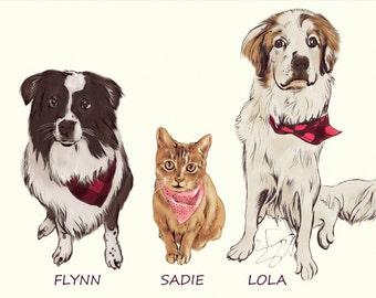 Custom Dog Portrait. Custom Pet Portrait-Wall Art-Dog Lovers-Personalised Dog Portrait Any Breed-Memorial-Gift-Dog Portrait. Dog art