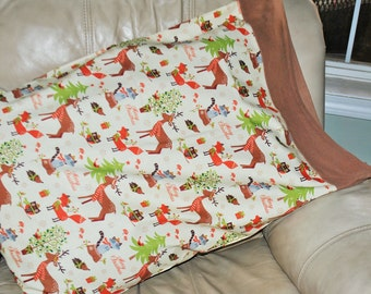 Christmas pillowcase with forest animals
