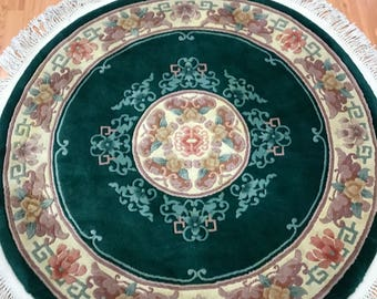 4' x 4' Round Chinese Aubusson Oriental Rug - Hand Made - 100% Wool