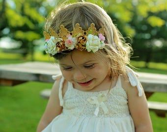 Baby flower crown ,pink flower crown ,flower headband