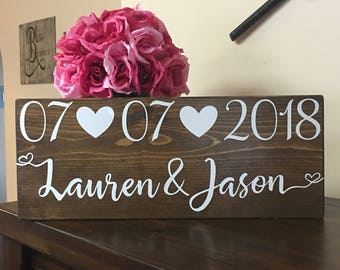 Save the Date Sign-Wedding date sign-Personalized Name sign -Engagement Photo prop-Wood Sign- Custom Wedding Gift-Keepsake-Engagement Gift