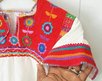 Vintage White Colorful Embroidered Huipil Top