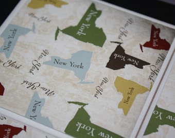 New York gift/ceramic tile/drink coasters/New York State print/Set of 4/Set of 6/Gift for her/Gift for him/New York decor