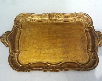 Antique gumps made in italy gold guilded wood tray