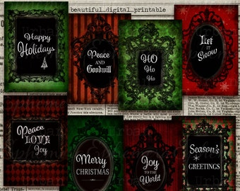 Christmas Gift Tags Printable ATC Instant Download Grunge Shabby Chic