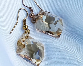 Gold, Crystal, Earrings, Swarovski, Dangle, Drop, Yellow, Summer, Jewelry, Jewelry Online, Jewellery