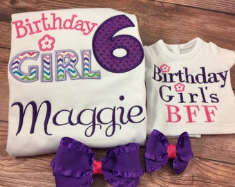 Matching Girl And Doll;Girl And Doll;Made To Match;Girls Birthday Shirt;Dollie And Me;Birthday Girl BFF;Custom Doll Clothes;18 Inch Dolls