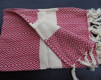 Red colour Turkish diamond patterned soft natural cotton hand and face towel, neck towel, winter cotton scarf, baby care towel.