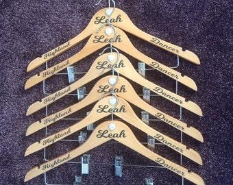 Personalised Highland Dancer Kilt Coat Hanger Dance Scottish Dancing