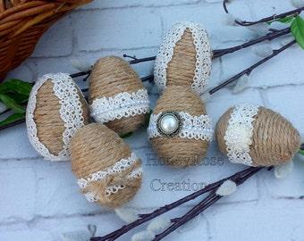 Easter eggs.Jute Easter Eggs.Handmade Easter decoration eggs.Set of 6 eggs.