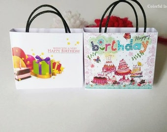 Set 2 Dollhouse Miniature Happy Birthday Paper Bag 1:12 Scale