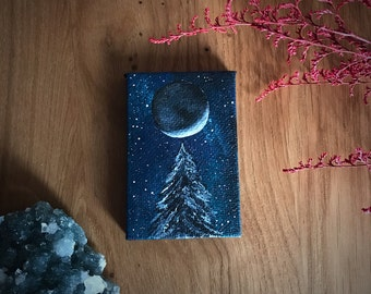 Mini Tree and Moon Painting with Easel