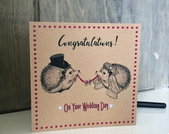 Wedding Card Congratulations with Hedgehog Bride & Groom, unusual cute card for new Mr and Mrs, lovely pearl hearts and diamante gem finish