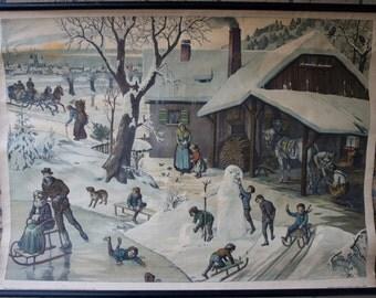 Vintage  Pull Down Chart Winter   School Chart