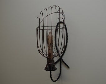 Apple Picker Wall Sconce, Handmade Copper Candle Holder   #415