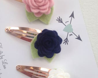 Set of 3 Rose Gold Snap Clips in Light Rose, Ivory and Navy