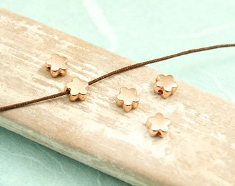 10 x metal bead flower 6 mm rose gold plated #4071