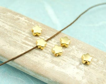 10 x metal bead flower 6 mm gold plated #4069